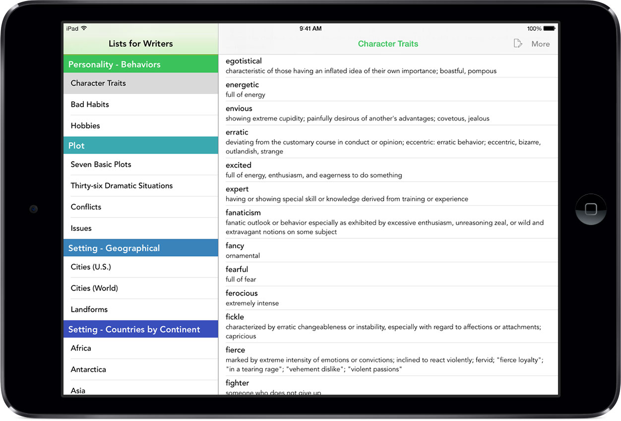 Lists for Writers on iPad Mini