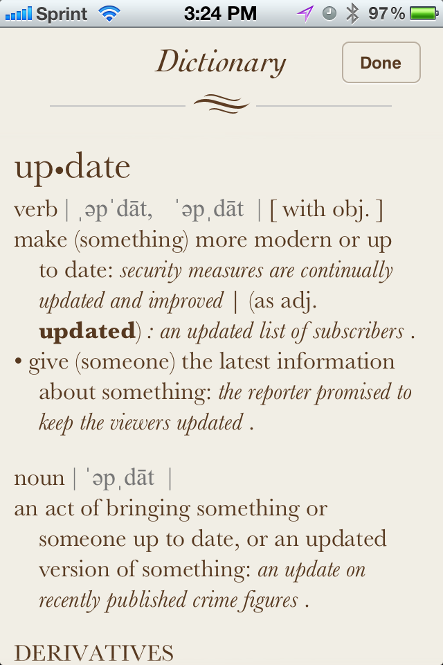 dictionary list of words and definitions