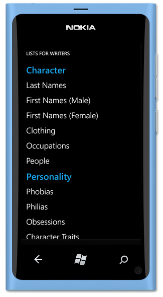 Lists for Writers - Windows Phone Screenshot
