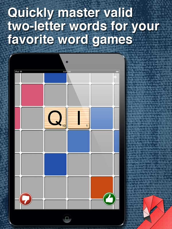 QI IQ - Quickly master valid two letter words for your favorite word tile games like Scrabble and Words With Friends